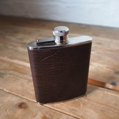 Vintage Leather and Stainless Steel Hip Flask