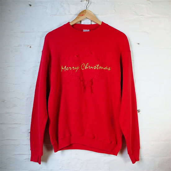 1990's Red Embroidered Christmas Sweater