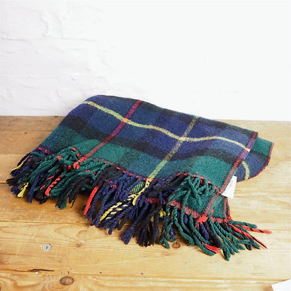 Small Wool Green, Navy, Red & Yellow Tartan Blanket With Fringe Trim