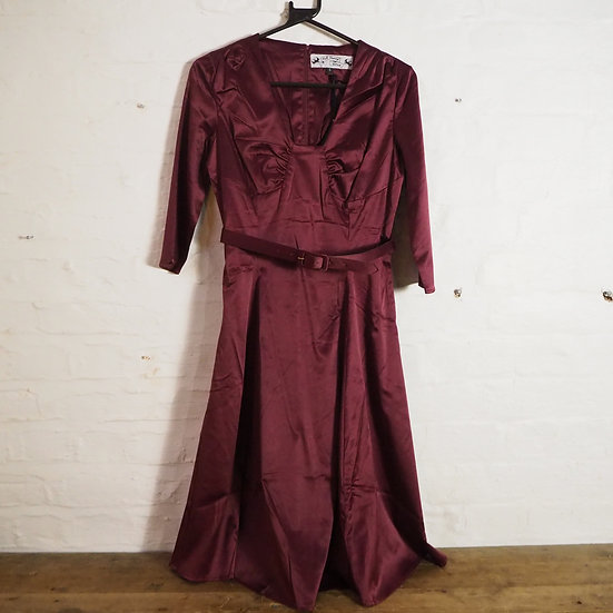 Size S Hell Bunny Vixen 40s Vintage Reproduction Wine Satin Evening Dress