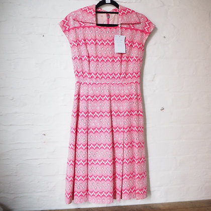 1960s Cocktail Dress in Barbie Pink Broderie Anglaise Fabric
