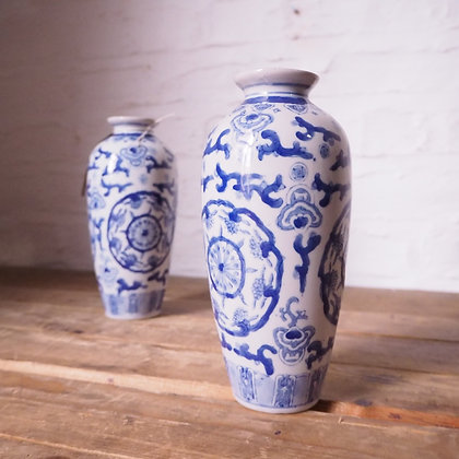Pair of Two Chinese Blue and White China Vases