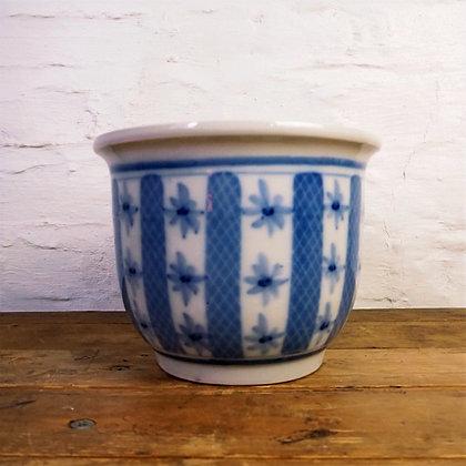 White & Blue Oriental Style Plant Pot
