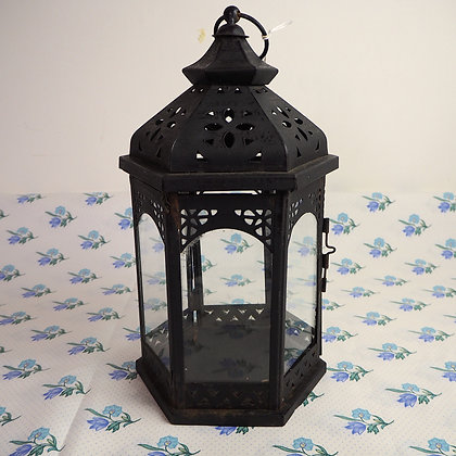 Large Vintage Metal + Glass Lantern