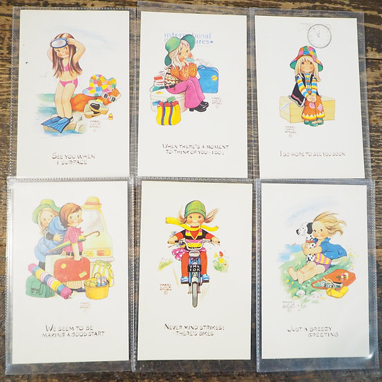 x6 Cute Retro 60s/70s Postcards Notecards