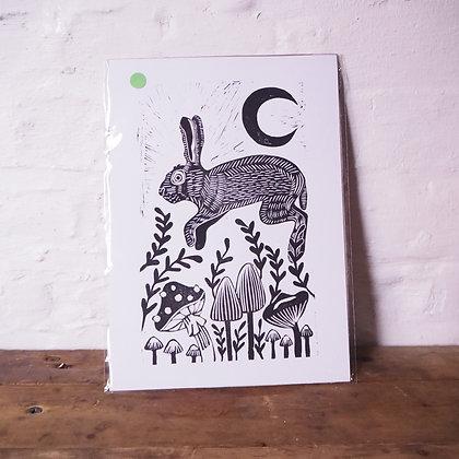 Jumping Hare and Mushrooms A4 Lino Print