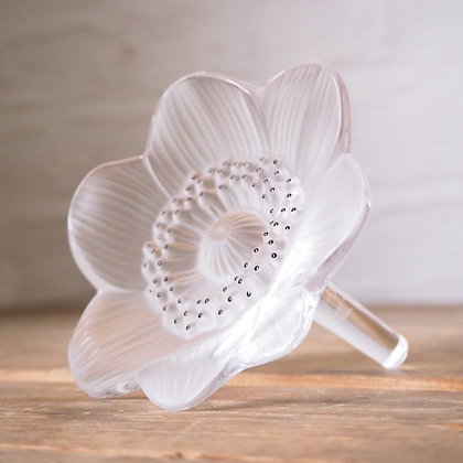 Boxed Lalique Clear Glass Decorative Poppy Sculpture