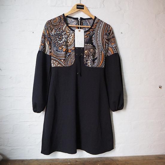 1970s Black Orange and Brown Paisley Long Sleeve Mini Dress