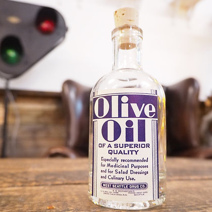 'Olive Oil' Apothecary Pharmacy Style Bottle