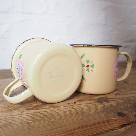 Pair of enamel Camping Mugs with flower design