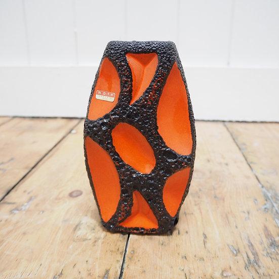 Modernist Orange Fat Lava Lozenge 309 Mid Century Vase Roth Keramik