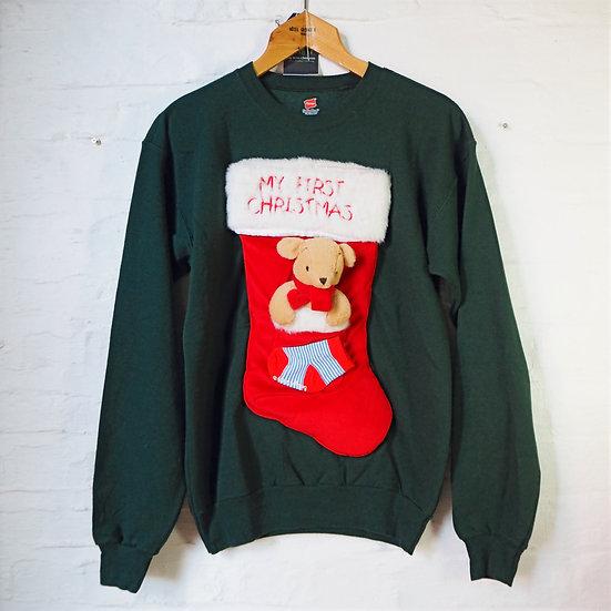 "Handmade ""My First Christmas"" 3D Stocking Sweater"