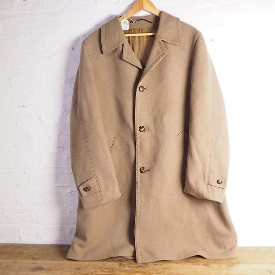 Mens Vintage Brown Wool Overcoat