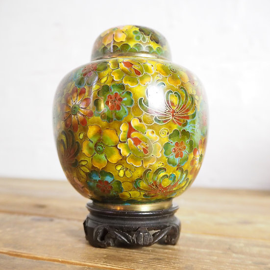 Chinese Cloisonné Enamel Ginger Jar on Hardwood Stand