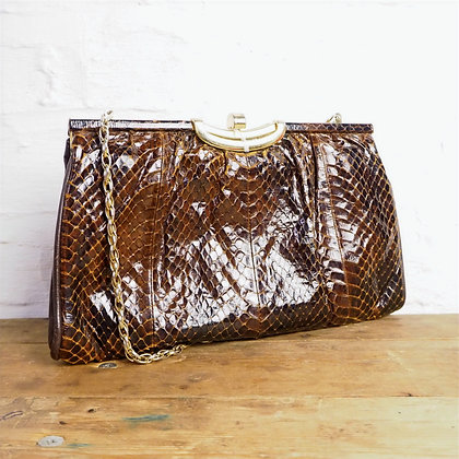 Vintage Brown Leather Snakeskin Effect Clutch/Shoulder Bag, With Chain Strap
