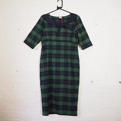 Size L Dancing Days Green and Blue Plaid Reproduction Vintage Pencil Dress