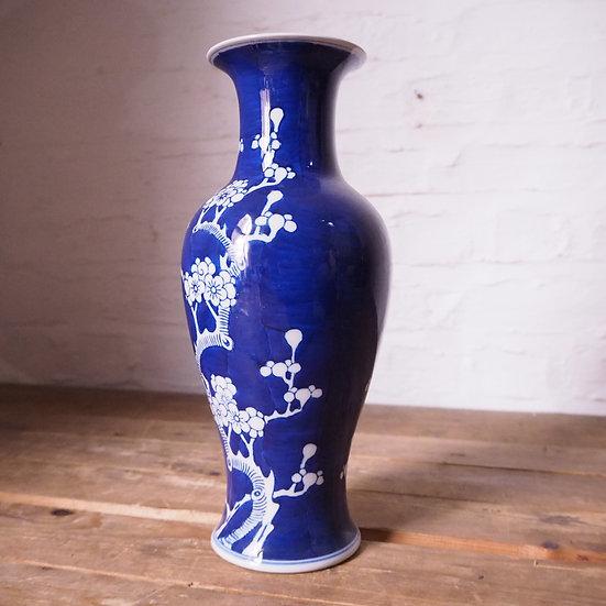 Large Chinese Blue and White Prunus Style Design China Vase
