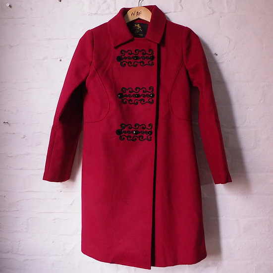 Hell Bunny Wine Red Retro Style Coat with Black Embellishments XS