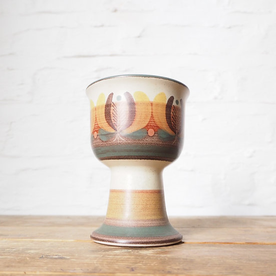 Vintage 1970s Porta Celi Made in Spain Ceramic Goblet Vase Trinket Dish