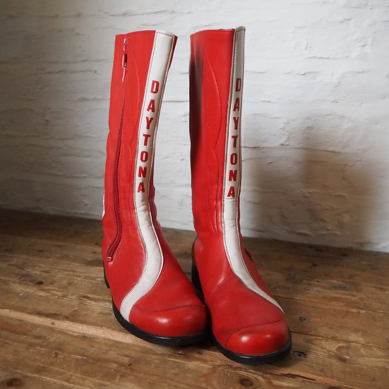 Daytona Red and White Motorcycle Boots