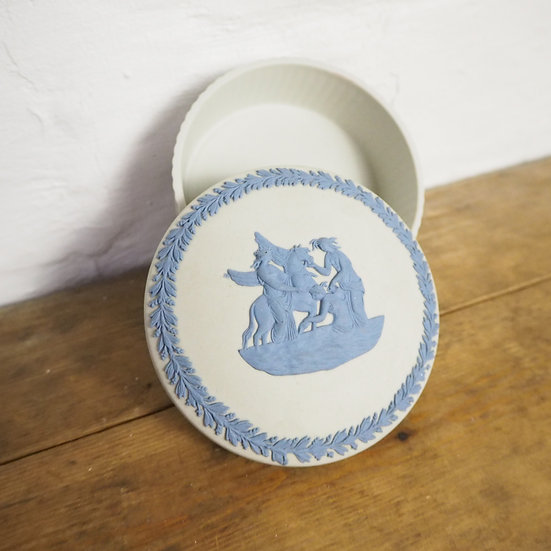 Rare Wedgwood Jasperware Blue and White Trinket Box