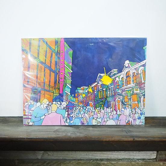 Neon Broadway Crowd Nottingham A4 Print