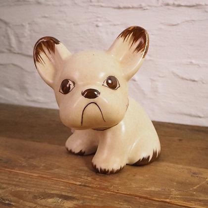 "Cream & Brown ""Byngo"" Dog. 6 1/4 "" Denby."