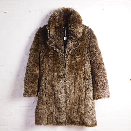 Size S-M, Ladies Brown Faux Fur Coat