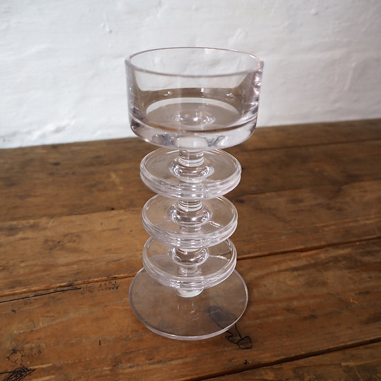 1970's Wedgewood Sherringham Three Disc Glass Candle Holder