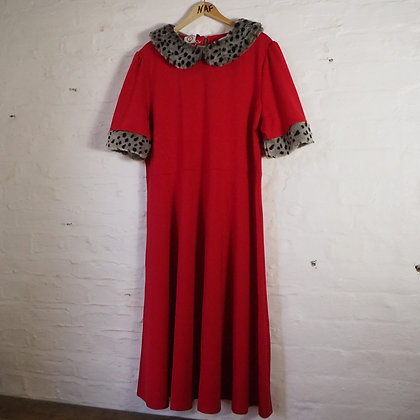 Size 22 Red Leopard Print Dancing Days Reproduction Vintage Swing Dress