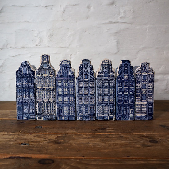 Set of Seven Ceramic Delft Canal Houses