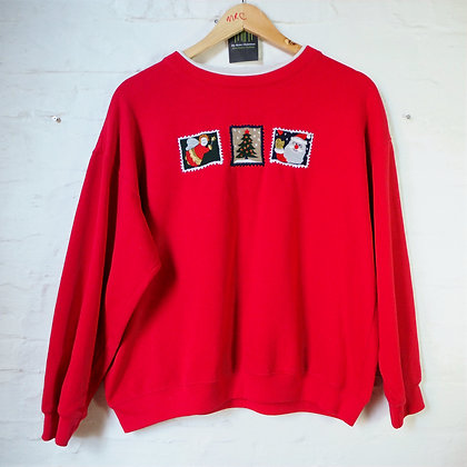1990's Ladies Red Embroidered Christmas Sweater