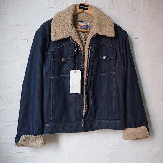 Vintage 1970s Sears Denim Shearling Jacket
