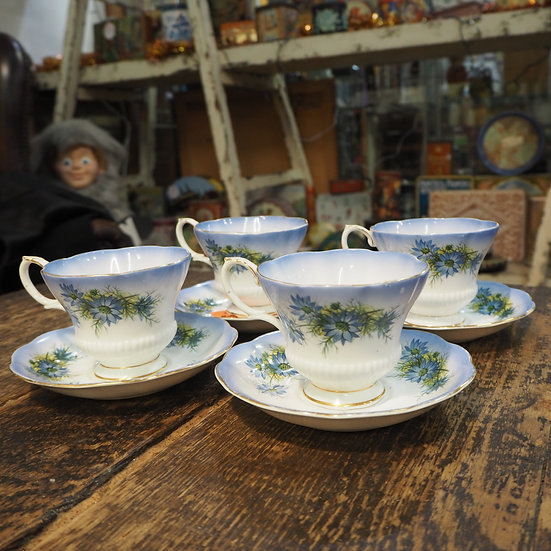 Set of 4 Royal Albert Reflection Cups and Saucers