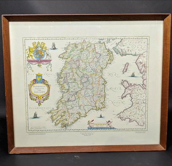 Hibernia Regnum Ireland 1662 reprinted By John Bartholomew & Son & Framed