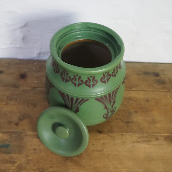 Lovatts Langley Ware Green and Pink Tobacco Jar