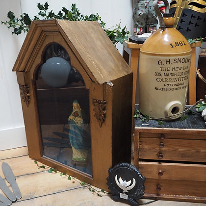 Sacred Heart Mary Statue in Wooden Display Case