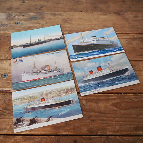 x5 Vintage Postcards Featuring Ship Illustrations