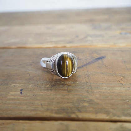 Silver and Tigers Eye ring
