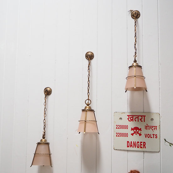 Brass Hanging Lamps with Peach Shade