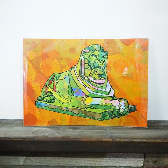 Neon Left Lion Nottingham A4 Print