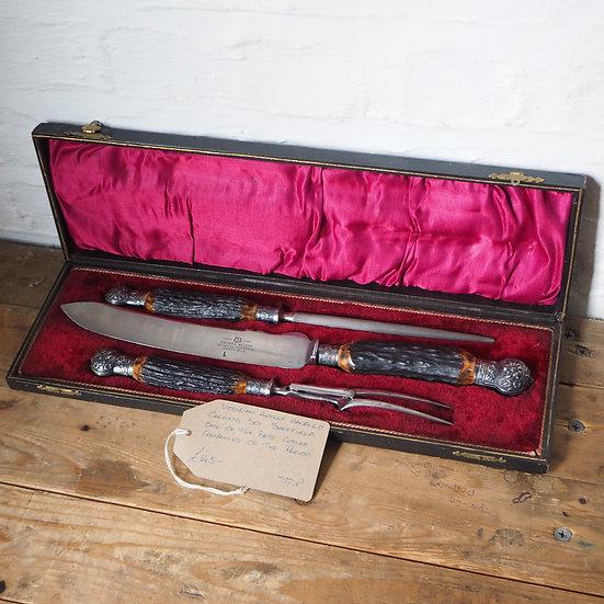 Antler Handled Victorian Carving Set