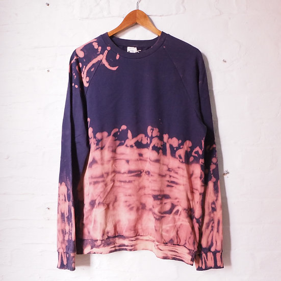 Size L Reworked Bleach Dyes Navy Sweatshirt