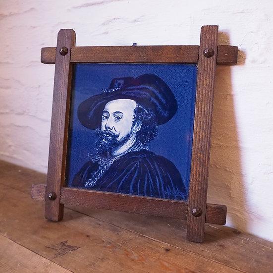 Decorative Framed Delft Handpainted Ceramic Tile 'Reubens' Portrait