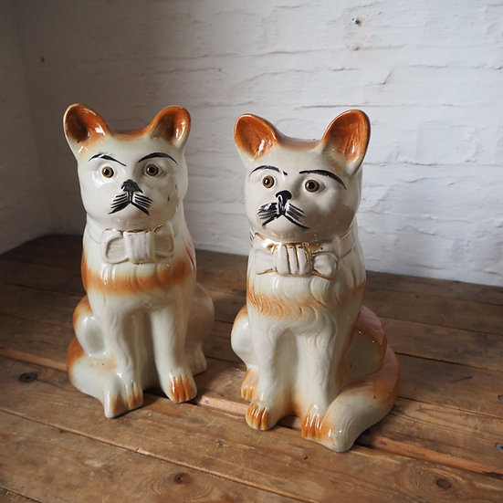 Pair of Antique 19th Century Staffordshire Pottery Cats