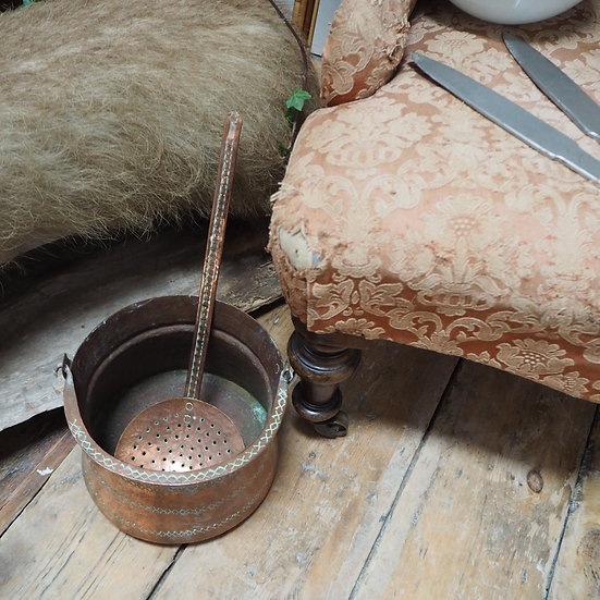 Antique Copper Pot and Strainer Spoon
