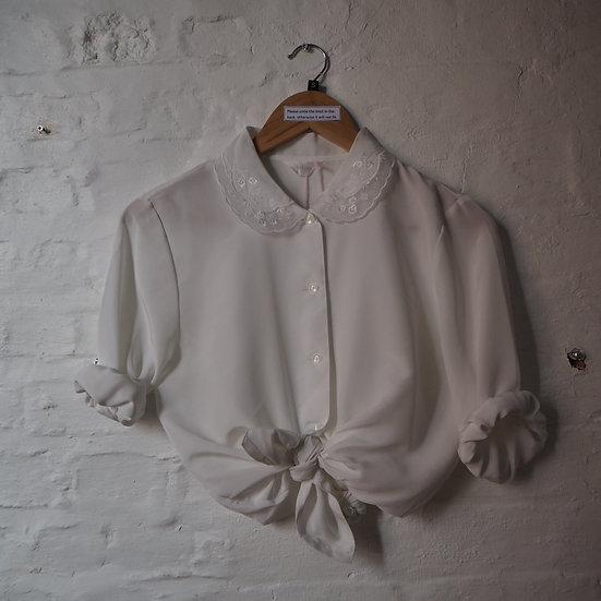 Gorgeous White Shirt with Embroidered Collar Details, Size Small