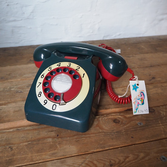 Refurbished 3 Colour Deep Teal Blue, Cream, and Red Rotary Dial Phone
