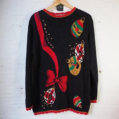 1980's Black Knitted Christmas Jumper