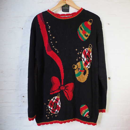 1980's Black Knitted Christmas Jumper